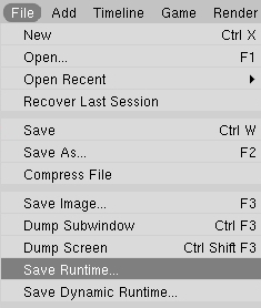 Select Save Runtime from the File Menu