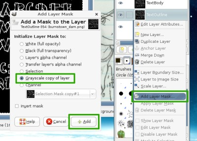 The add layer mask dialog