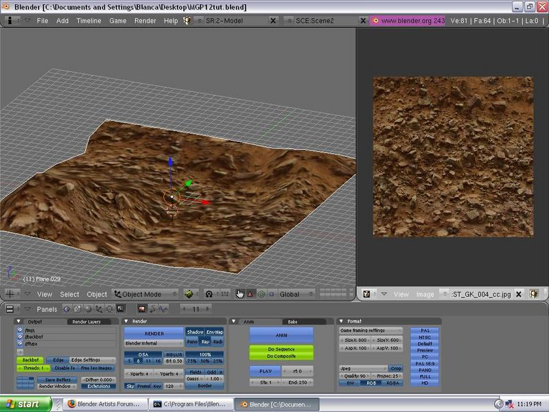 A plane UV mapped with rocky soil (img)